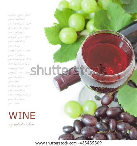 Red wine in glasses, bottle and grapes with leaves isolated on white background - stock photo