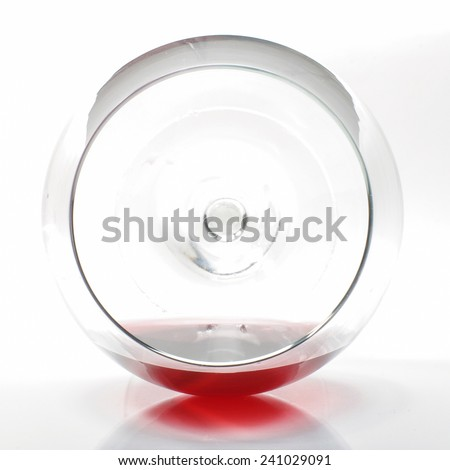 Red wine in the wine glass top view - stock photo