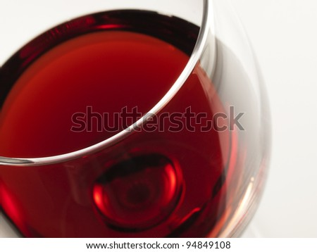 Red wine Inviting glass of red from high angle shot - stock photo