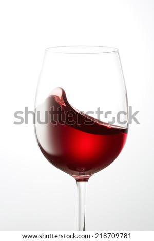red wine isolated on white background - stock photo