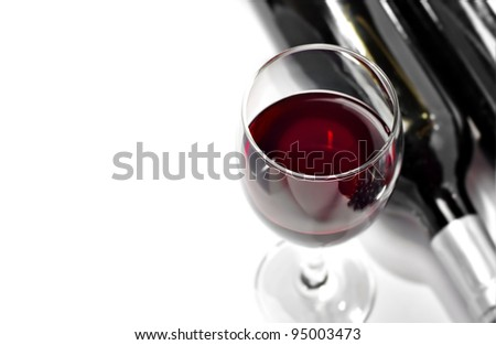 Red wine, isolated, white background - stock photo