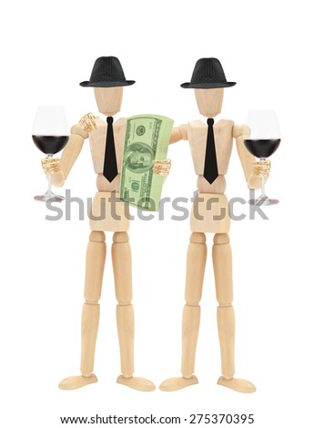 Red Wine Mannequins businessmen Stack of US Currency one hundred dollar bills isolated on white background - stock photo