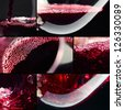 Red wine on a black background, abstract splashing, saved clipping path - stock photo