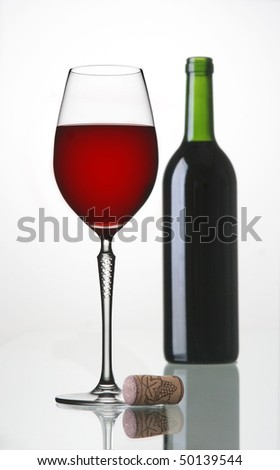 red wine on the table - stock photo