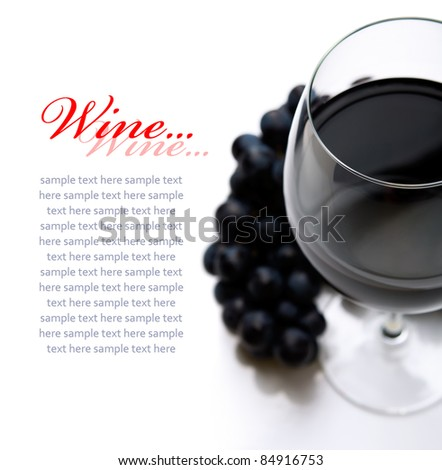 Red wine on the white with copy space - stock photo
