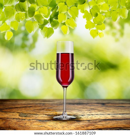 Red Wine on Wood Table with green leaf and summer scene background - stock photo