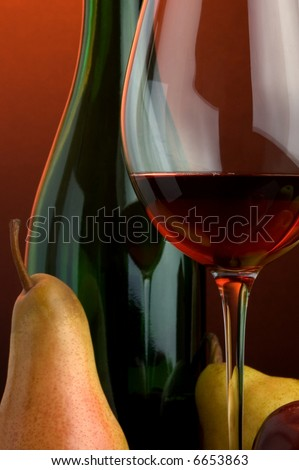 red wine pear apple glass bottle details - stock photo