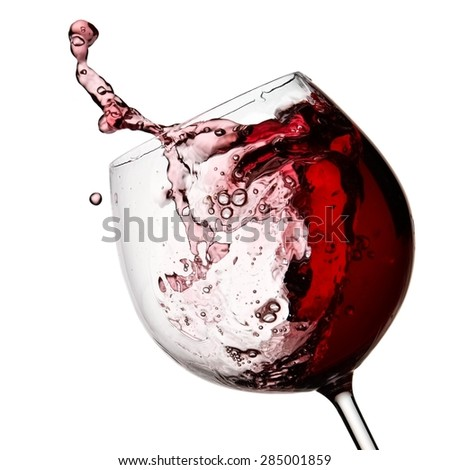 Red wine plash, close up - stock photo