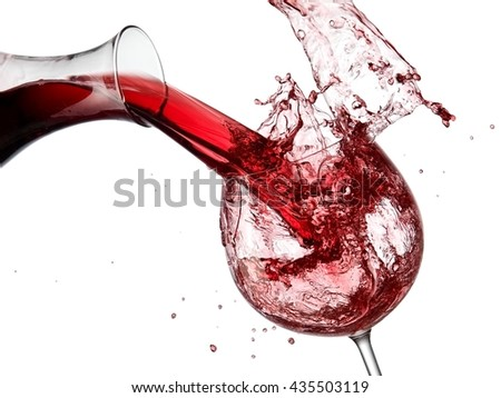 Red wine pour and splash - stock photo
