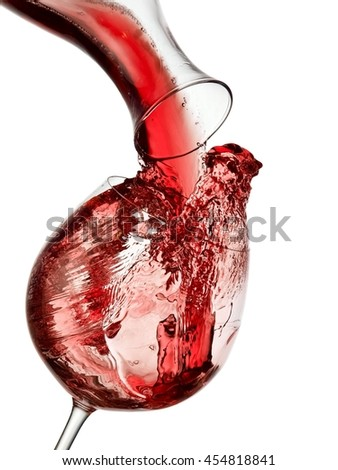 Red wine pour and up - stock photo