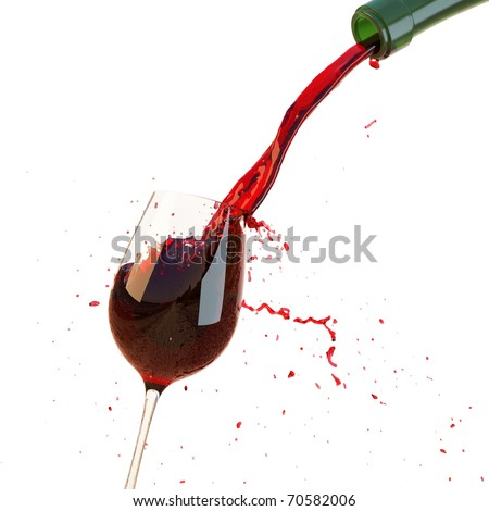 Red wine poured in a glass isolated on a white background. with clipping path. - stock photo