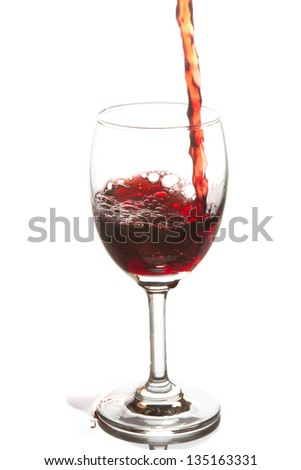 Red wine poured in a wine glass