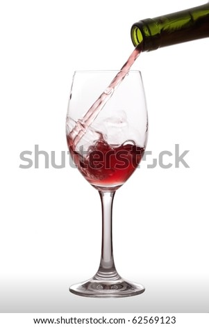 Red wine poured into a glass with a green bottle. Separated on a white background.