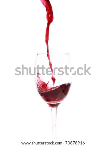 Red wine pouring down from a wine bottle. Isolated on white. - stock photo