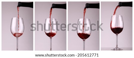 Red wine pouring into a glass series of shots