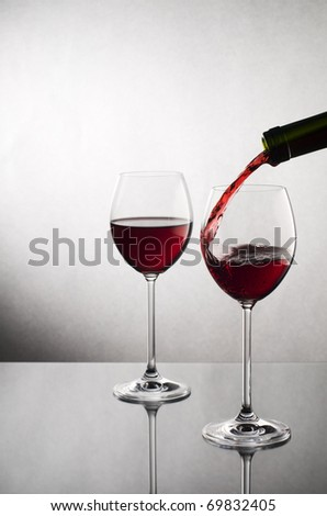 Red wine pouring into glass close up