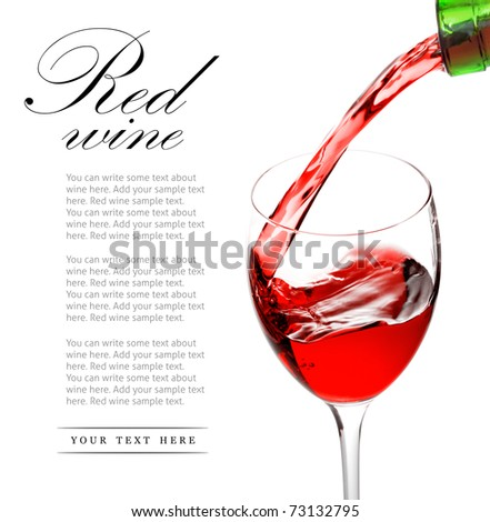 red wine pouring into glass isolated on white background - stock photo