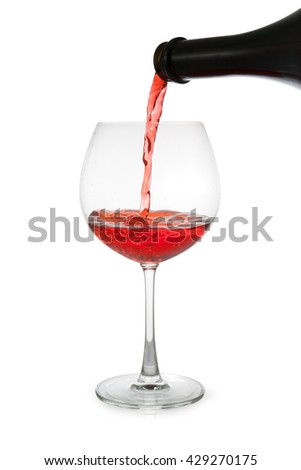 red wine pouring  isolated on white background