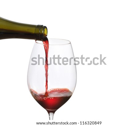 Red Wine Pouring  on a white background - stock photo