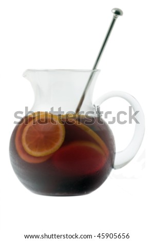 Red Wine Sangria in pitcher  on white background - stock photo