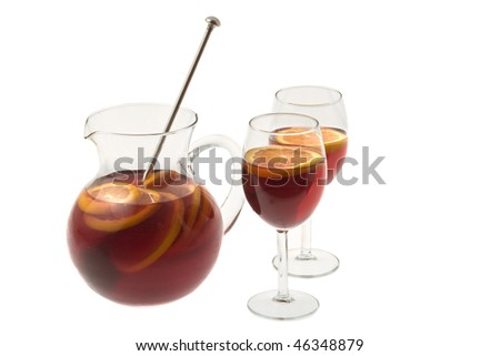 Red Wine Sangria in pitcher with stemware on white background - stock photo