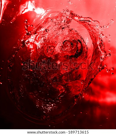 red wine splash closeup