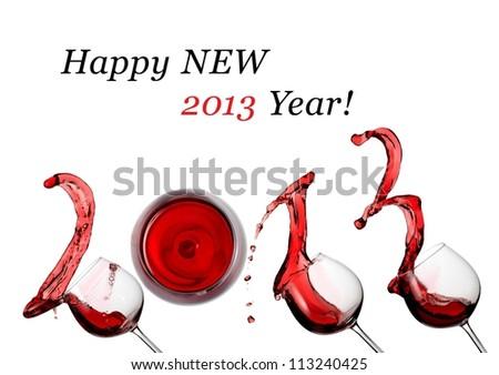 Red wine splash happy new 2013 year - stock photo