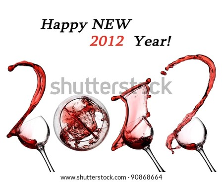 Red wine splash happy new 2012 year - stock photo