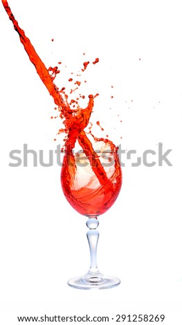 red wine splash in the glass on white background