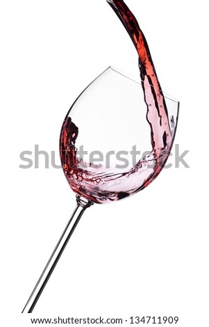Red wine splash isolated on white background. Food concept.