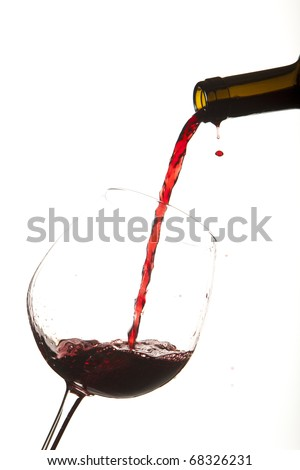 Red wine splash on a glass, white background.
