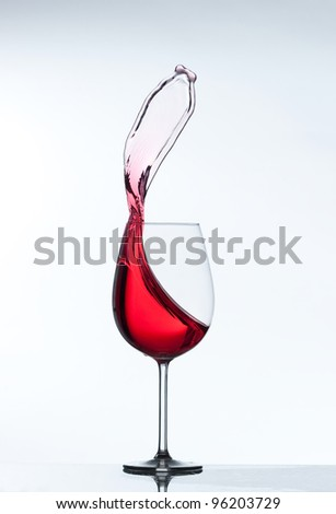 red wine splash on a white background