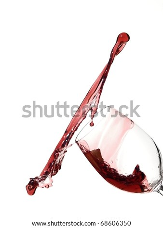 Red wine splash with diagonal