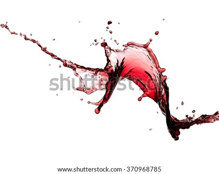 Red wine splash with drops - stock photo