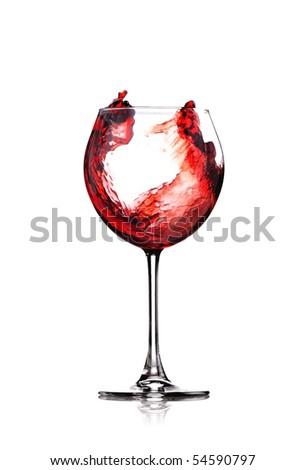 red wine splashing in a glass, isolated on white - stock photo