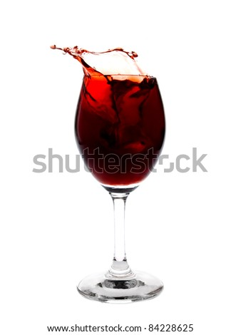 Red wine splashing in the glass