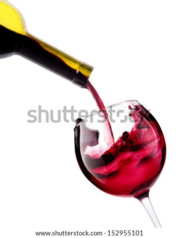 Red wine splashing on a white background