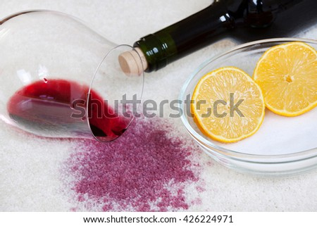 Red wine stain - stock photo