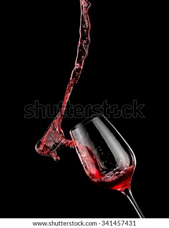 Red wine up from a glass - stock photo