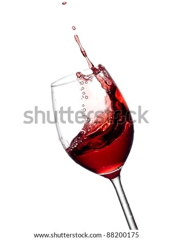 Red wine up with bubbles - stock photo