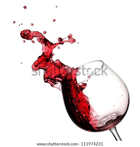 Red wine up with drops - stock photo