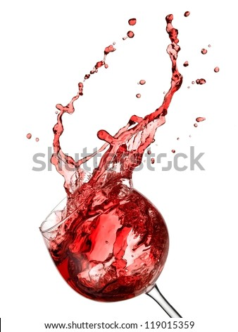 Red wine up with drops