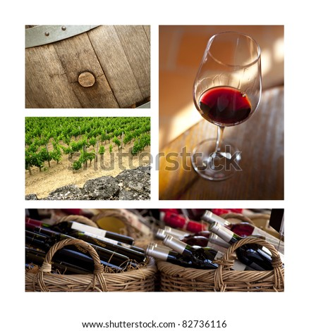 Red wine, vineyards and barrels in Bordeaux - stock photo