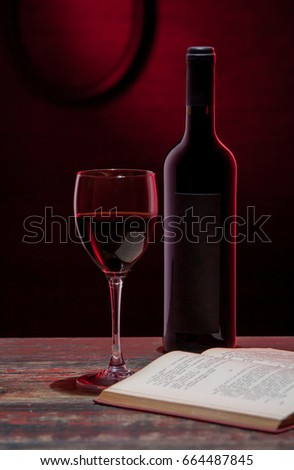 Red wine with a book