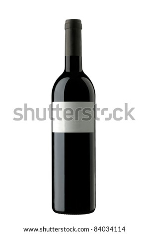 Red wine with blank labels. Isolated on white
