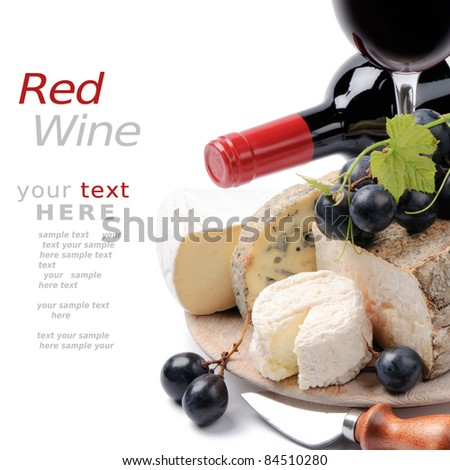 Red wine with French cheese selection - stock photo