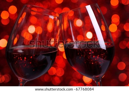 Red Wine with Lights Background. - stock photo