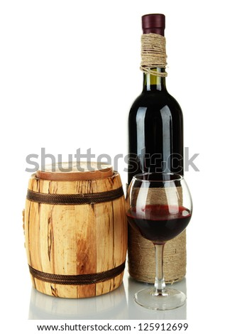 Red wine with wooden barrel isolated on  white