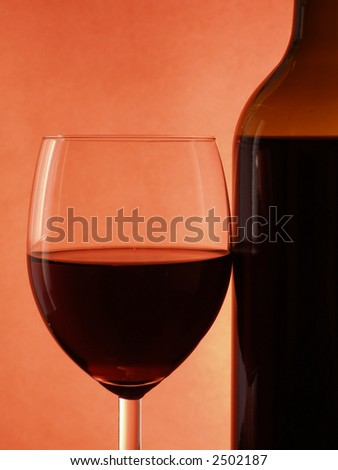 Red wine within glass