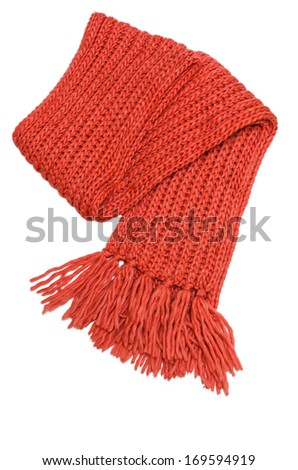 Red winter scarf isolated on white background - stock photo